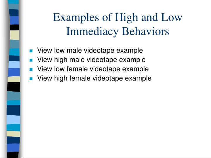 Examples of High and Low Immediacy Behaviors