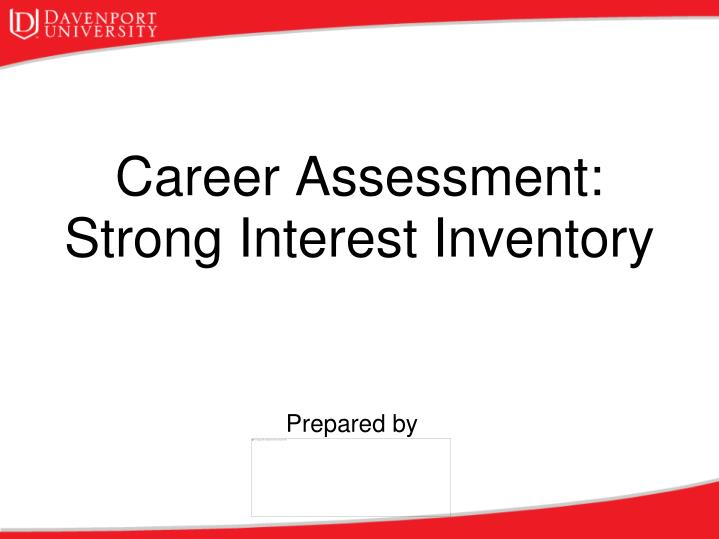 career assessment strong interest inventory n.