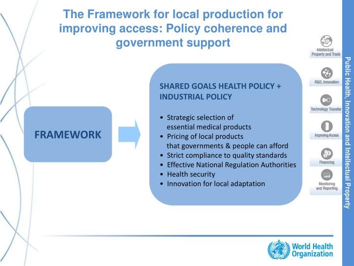 The Framework for local production for improving access: Policy coherence and government support