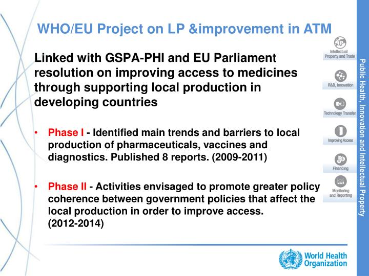 WHO/EU Project on LP &improvement in ATM