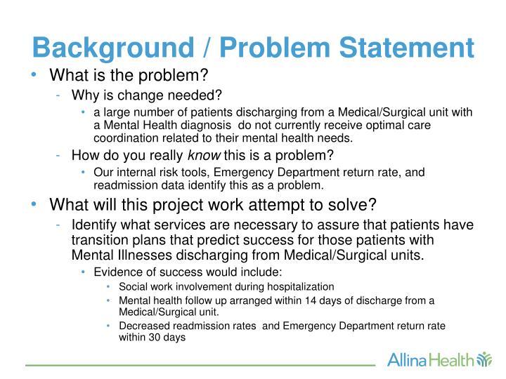 Background / Problem Statement