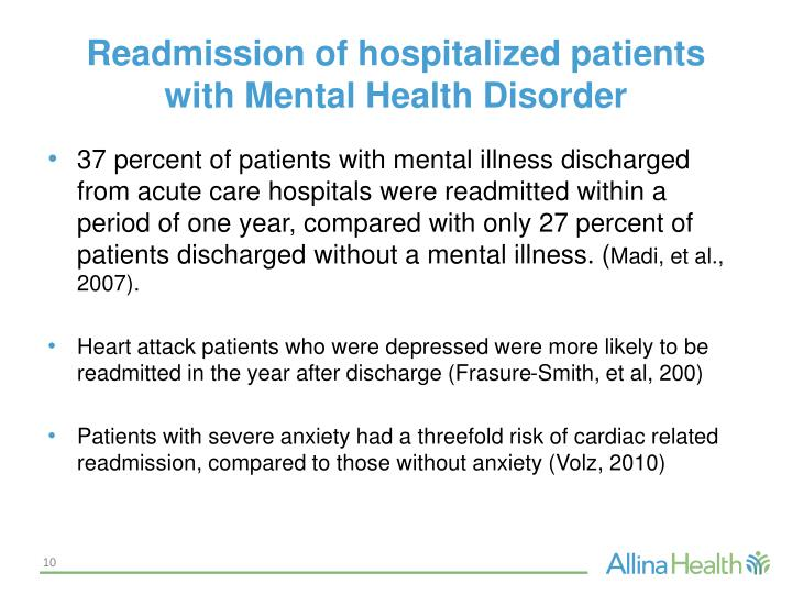 Readmission of hospitalized patients with Mental Health Disorder