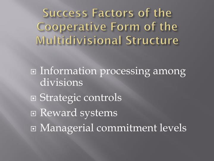Success Factors of the Cooperative