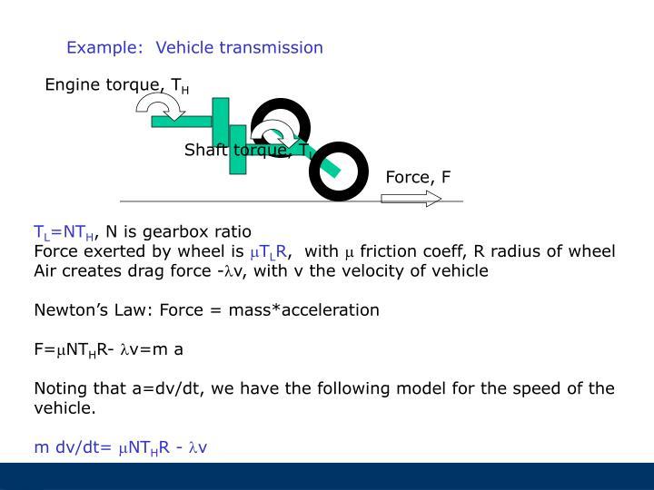 Example:  Vehicle transmission