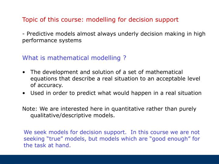 What is mathematical modelling ?