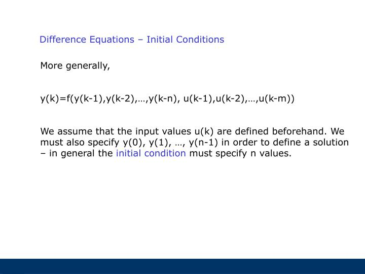 Difference Equations – Initial Conditions