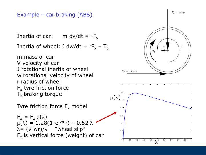 Example – car braking (ABS)