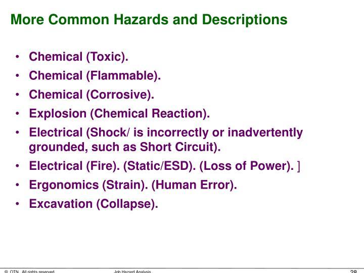 More Common Hazards and Descriptions