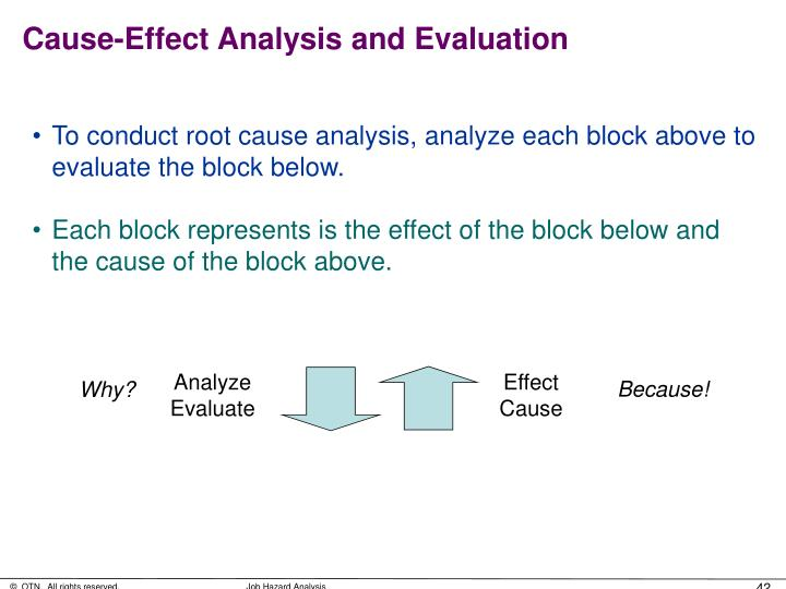 Cause-Effect Analysis and Evaluation