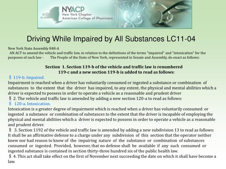 Driving While Impaired by All Substances LC11-04