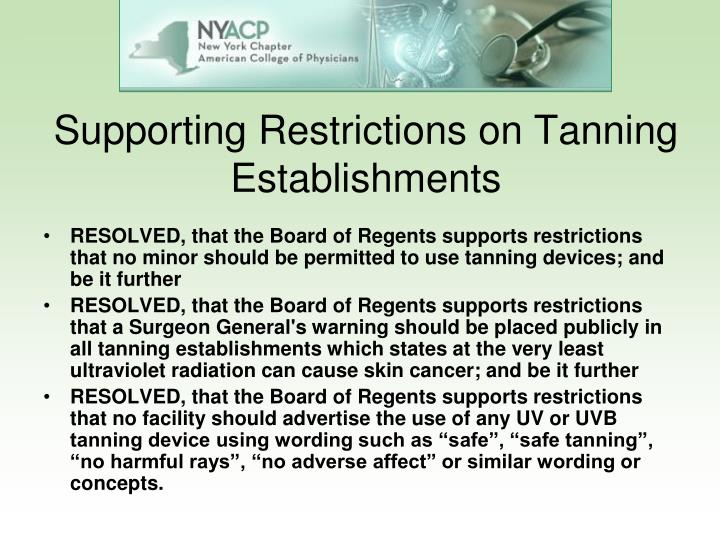 Supporting Restrictions on Tanning Establishments