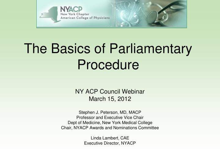 The basics of parliamentary procedure