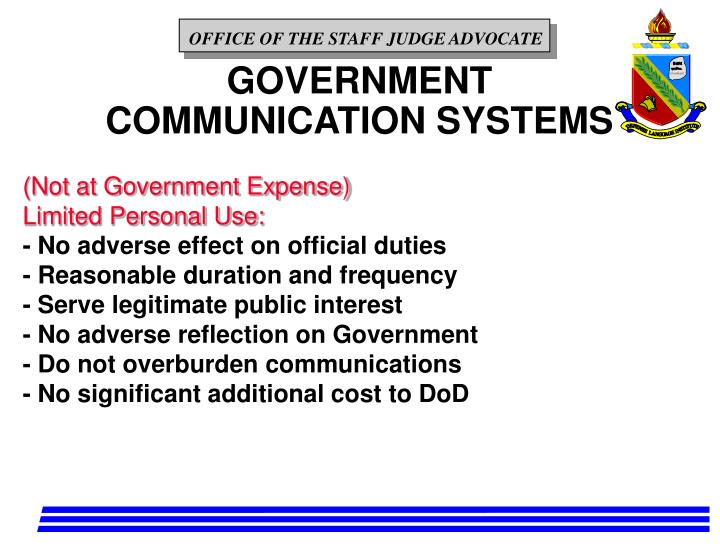 GOVERNMENT COMMUNICATION SYSTEMS