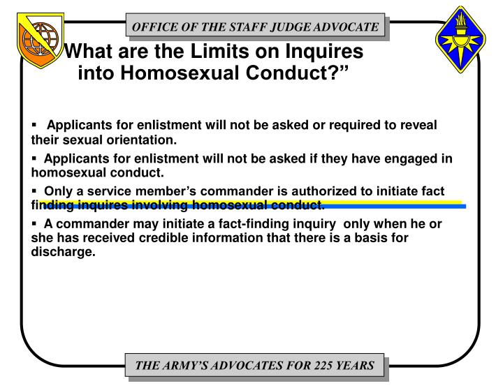 """What are the Limits on Inquires into Homosexual Conduct?"""""""