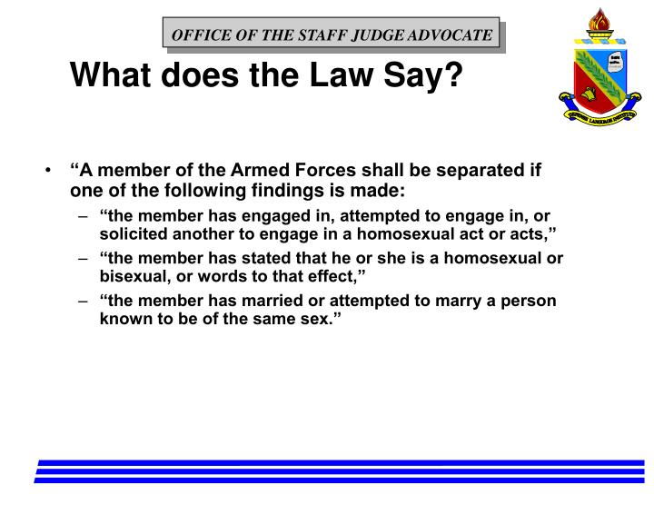 What does the Law Say?