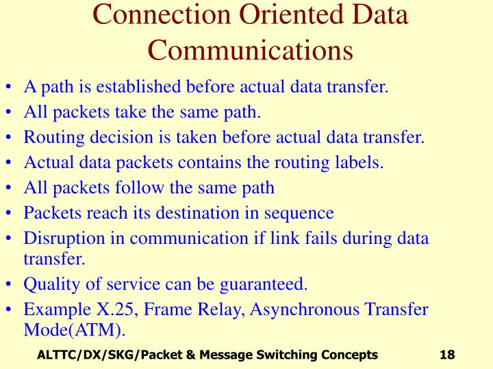 Connection Oriented Data Communications