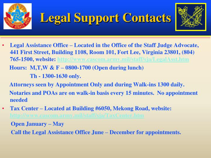 Legal Support Contacts