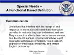 special needs a functional based definition