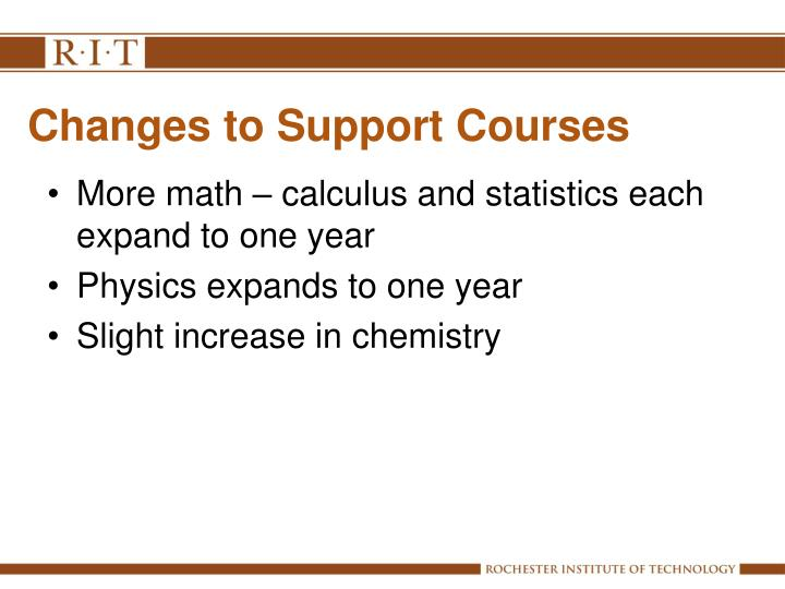 Changes to Support Courses