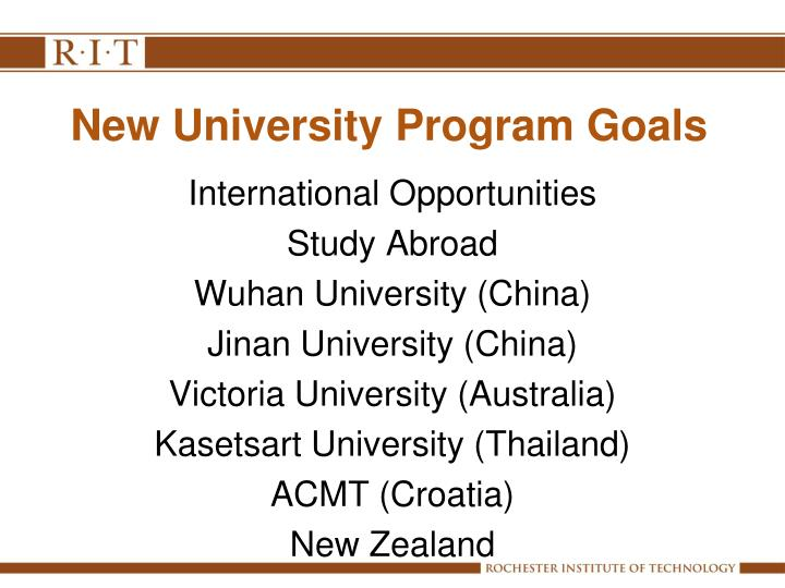 New University Program Goals