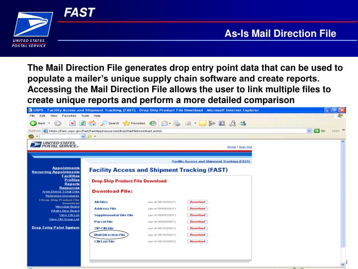 As-Is Mail Direction File