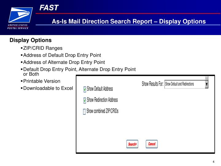 As-Is Mail Direction Search Report – Display Options