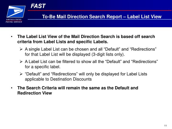To-Be Mail Direction Search Report – Label List View