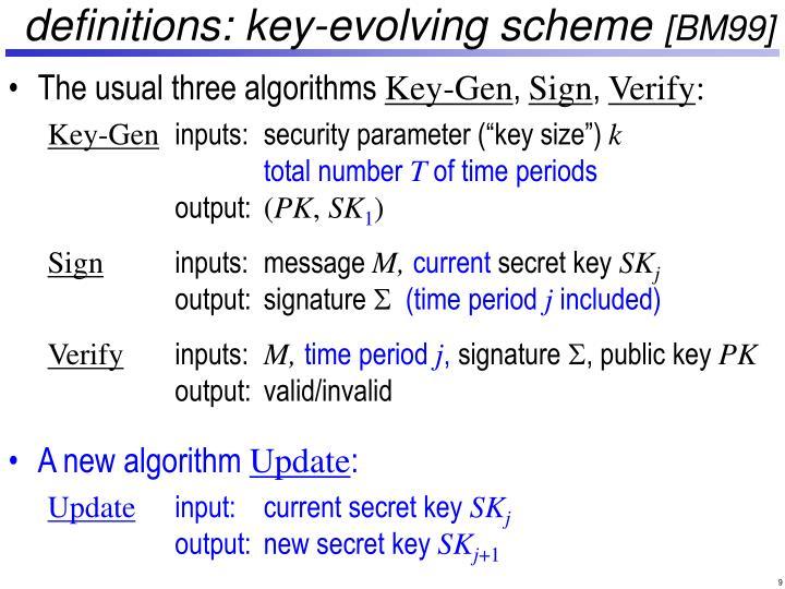 definitions: key-evolving scheme