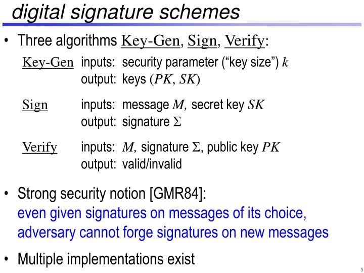 Digital signature schemes
