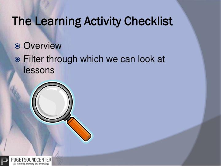 The Learning Activity Checklist