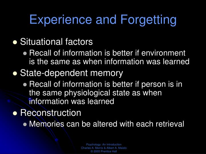 Experience and Forgetting