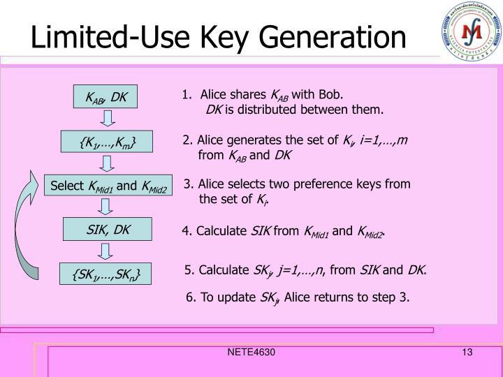 Limited-Use Key Generation