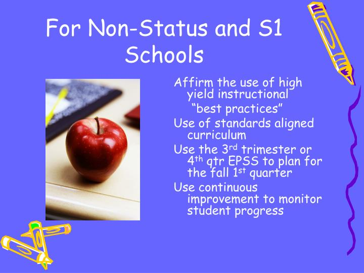 For Non-Status and S1 Schools