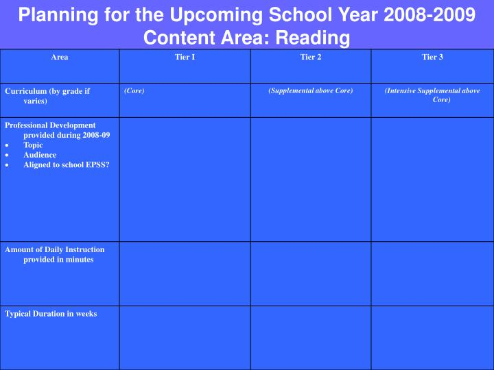 Planning for the Upcoming School Year 2008-2009