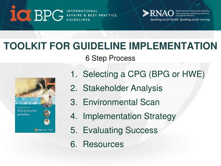 TOOLKIT FOR GUIDELINE IMPLEMENTATION
