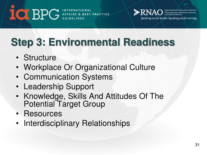 Step 3: Environmental Readiness