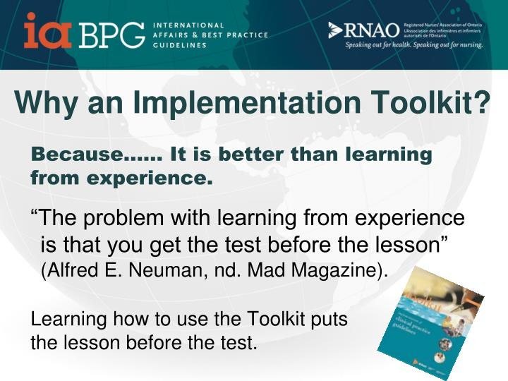 Why an Implementation Toolkit?