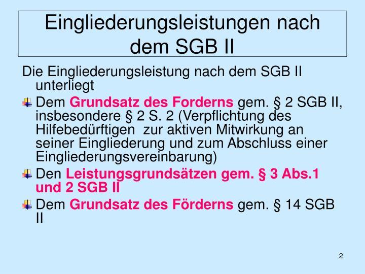 Eingliederungsleistungen nach dem sgb ii1