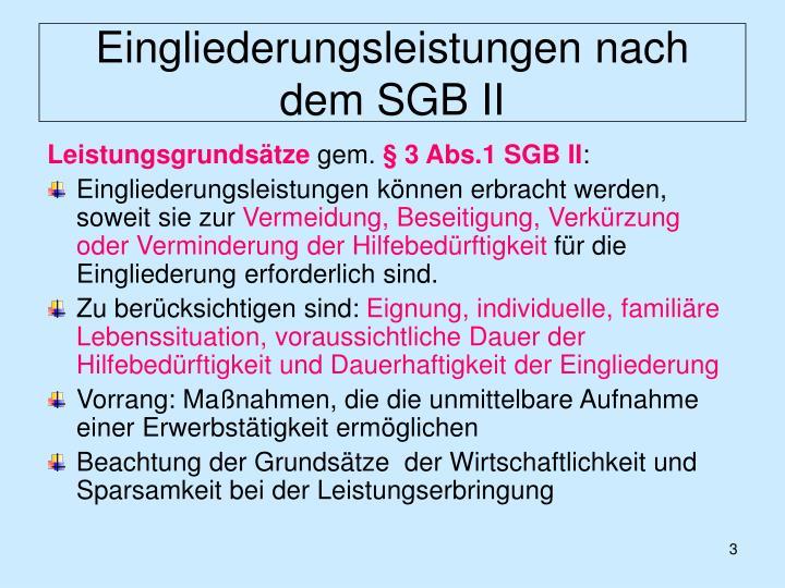 Eingliederungsleistungen nach dem sgb ii2