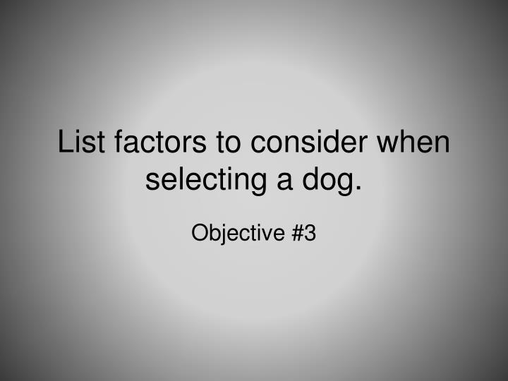 List factors to consider when selecting a dog.