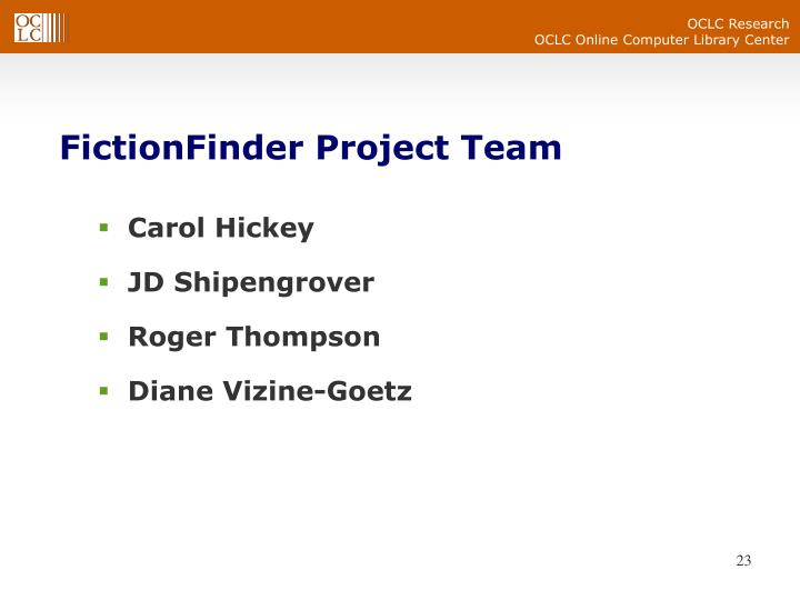 FictionFinder Project Team