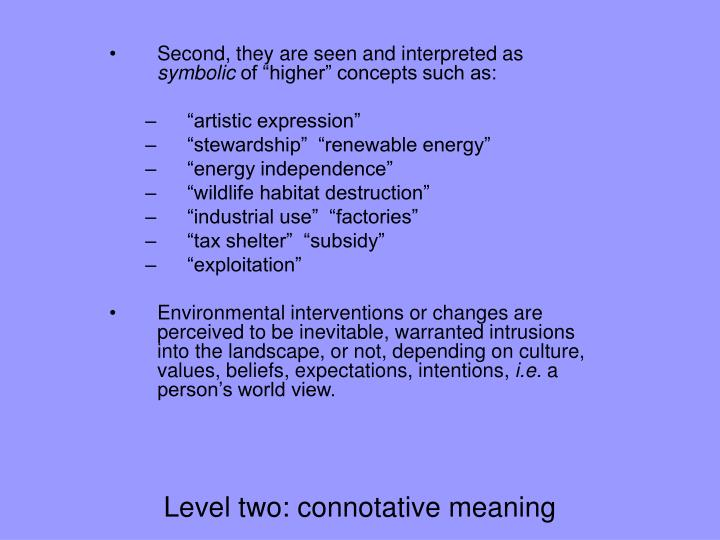 Level two: connotative meaning