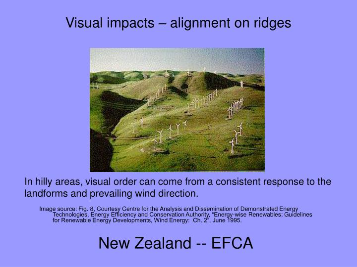 Visual impacts – alignment on ridges