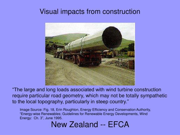 Visual impacts from construction