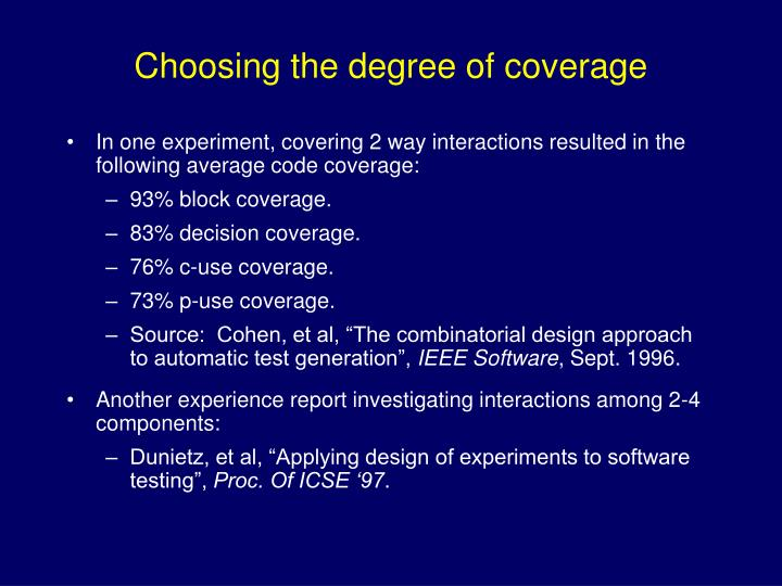 Choosing the degree of coverage
