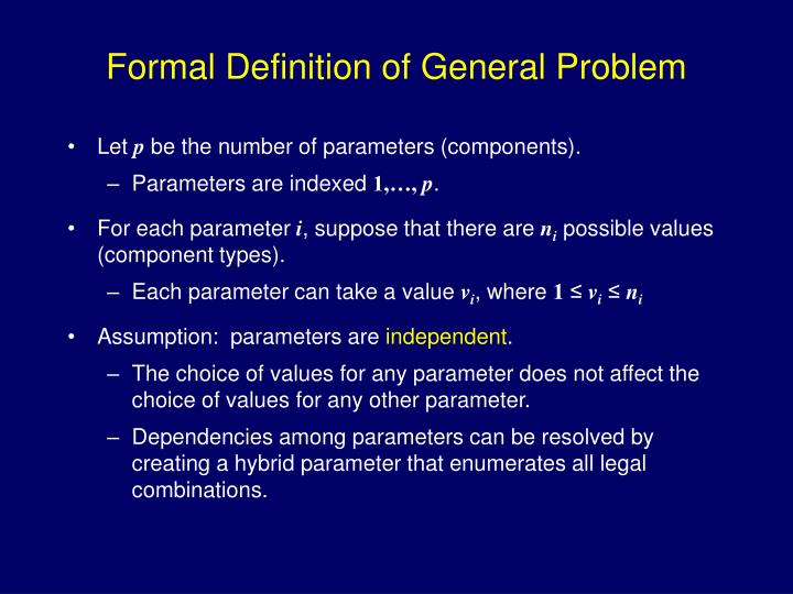 Formal Definition of General Problem