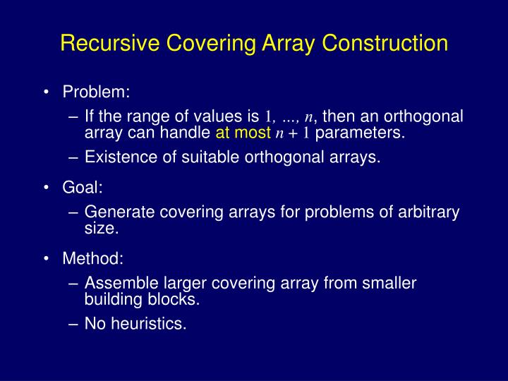 Recursive Covering Array Construction