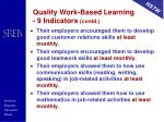quality work based learning 9 indicators contd