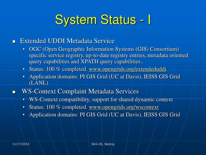 System Status - I