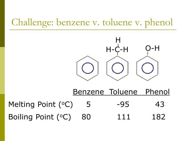 Challenge: benzene v. toluene v. phenol